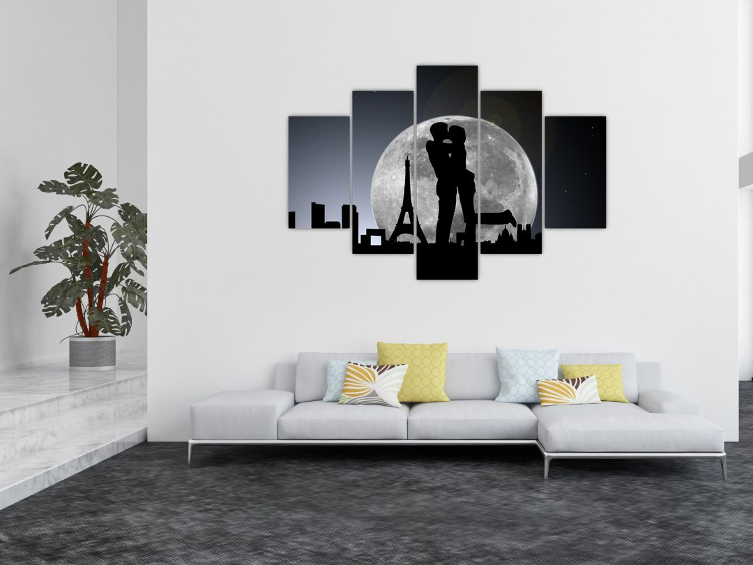 Silueta zamilovaného páru - moderní obraz